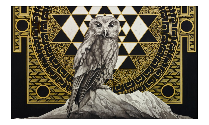 owl, ruru, morepork, gold, black, triangles, mandala